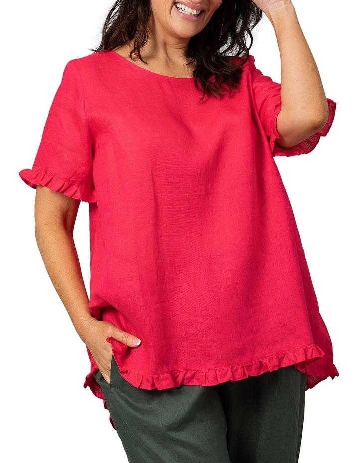 Short Sleeve Frill Hem Top Raspberry image 1