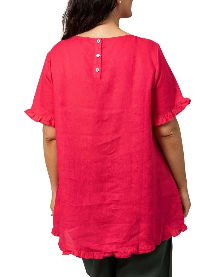 Short Sleeve Frill Hem Top Raspberry image 2