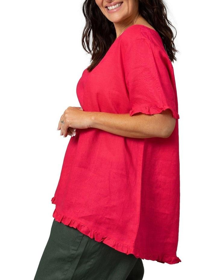Short Sleeve Frill Hem Top Raspberry image 3