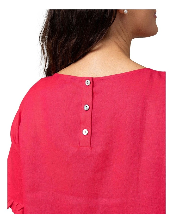 Short Sleeve Frill Hem Top Raspberry image 4