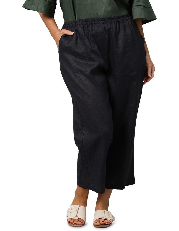 Washer Linen Cropped Pants Black image 1
