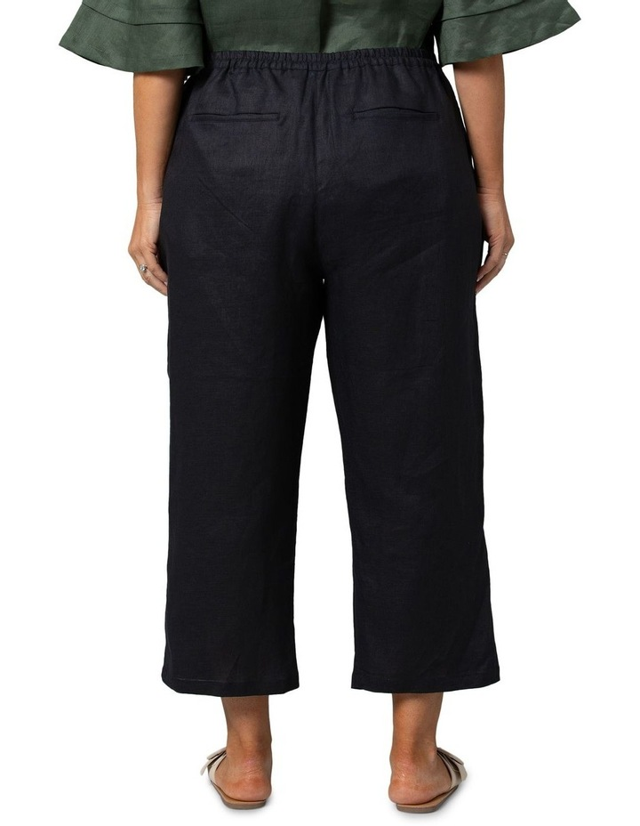 Washer Linen Cropped Pants Black image 2