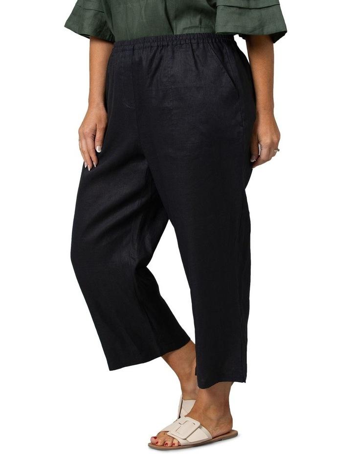 Washer Linen Cropped Pants Black image 3
