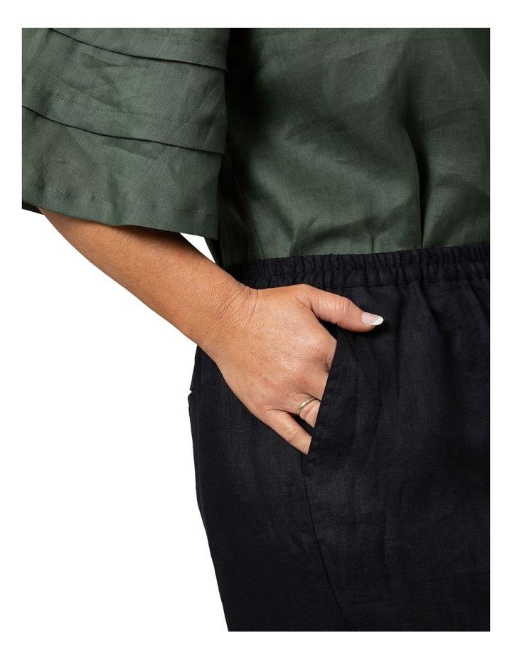 Washer Linen Cropped Pants Black image 4