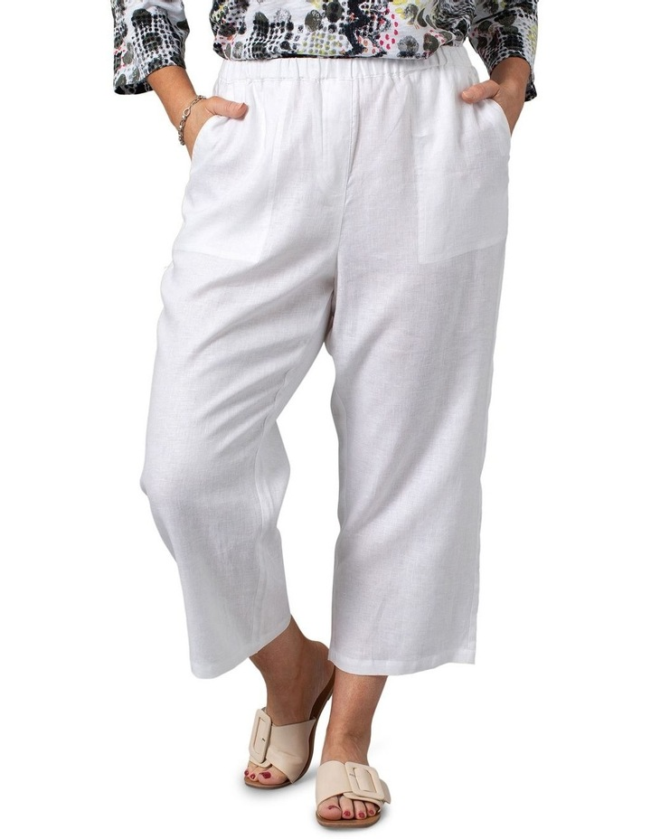 Washer Linen Cropped Pants White image 1