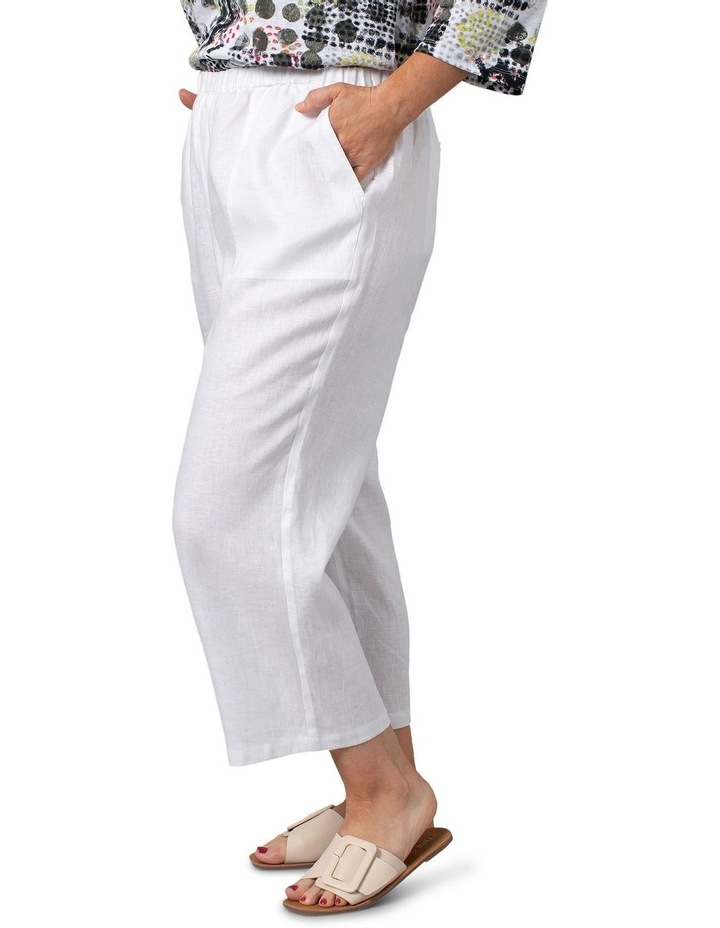 Washer Linen Cropped Pants White image 3