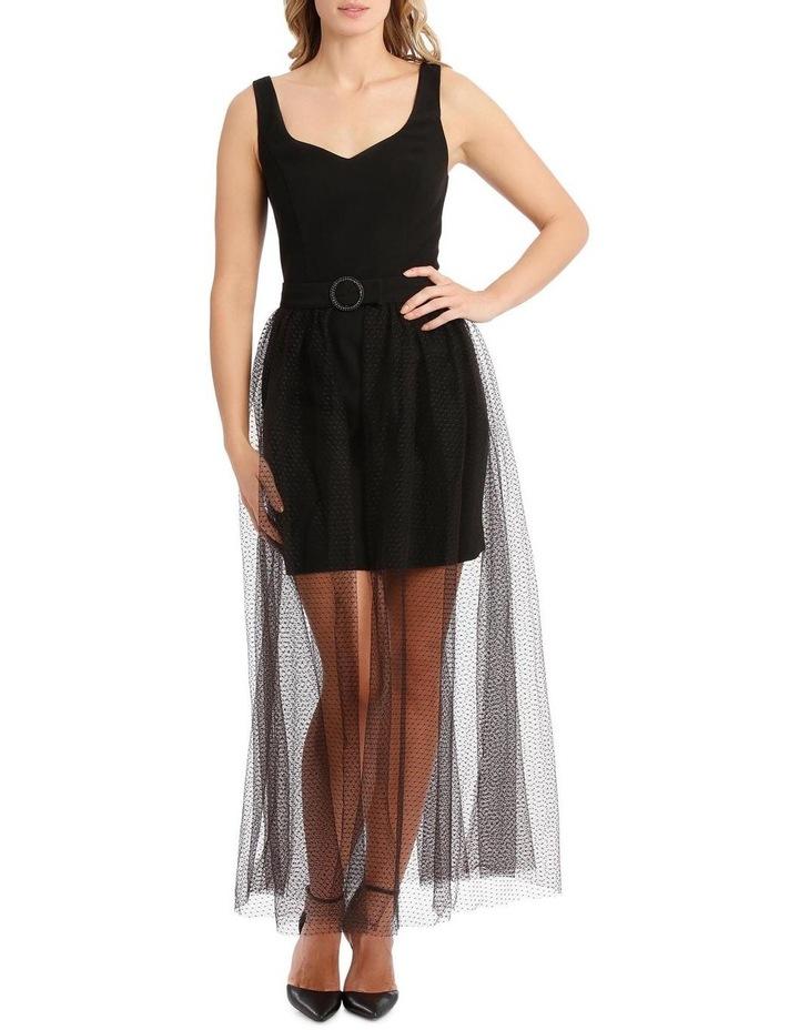 Mini Dress with Gathered Tulle Belt image 5