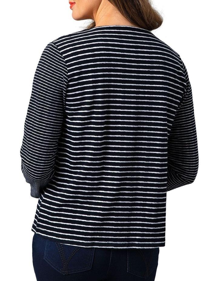 Stripe Jersey Cotton Button Through Cardigan Midnight image 2