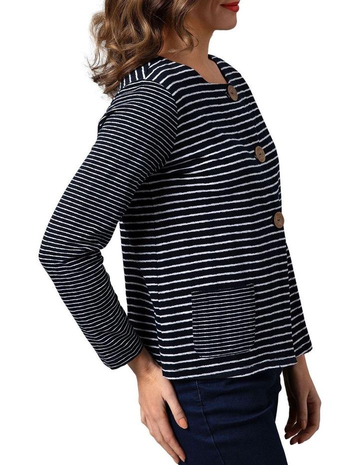 Stripe Jersey Cotton Button Through Cardigan Midnight image 3