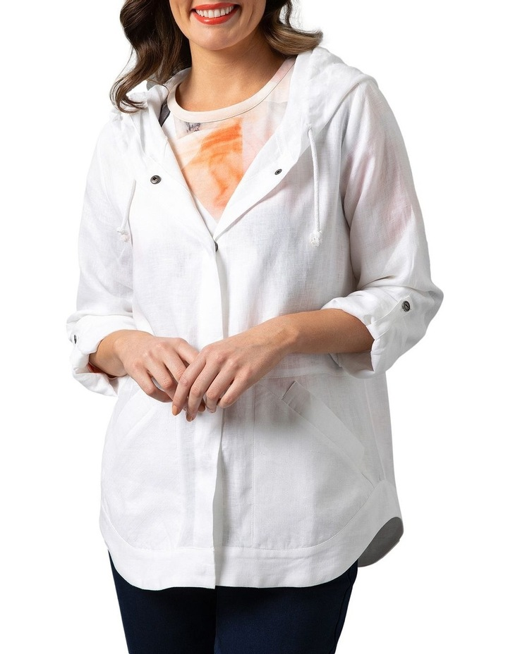 Stitch Detail Linen Jacket White image 1