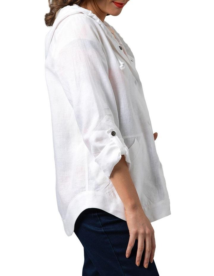 Stitch Detail Linen Jacket White image 3