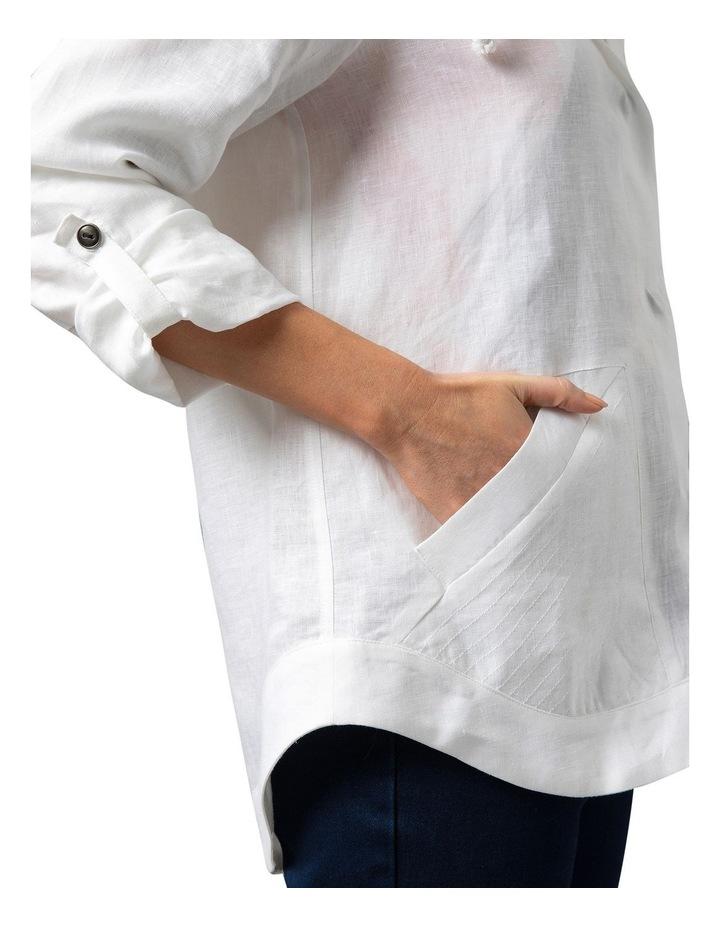 Stitch Detail Linen Jacket White image 4