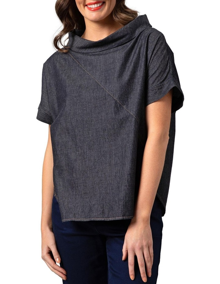 Wide Collar Chambray Top Grey image 1
