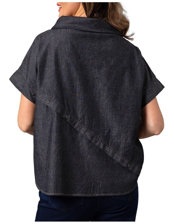 Wide Collar Chambray Top Grey image 2