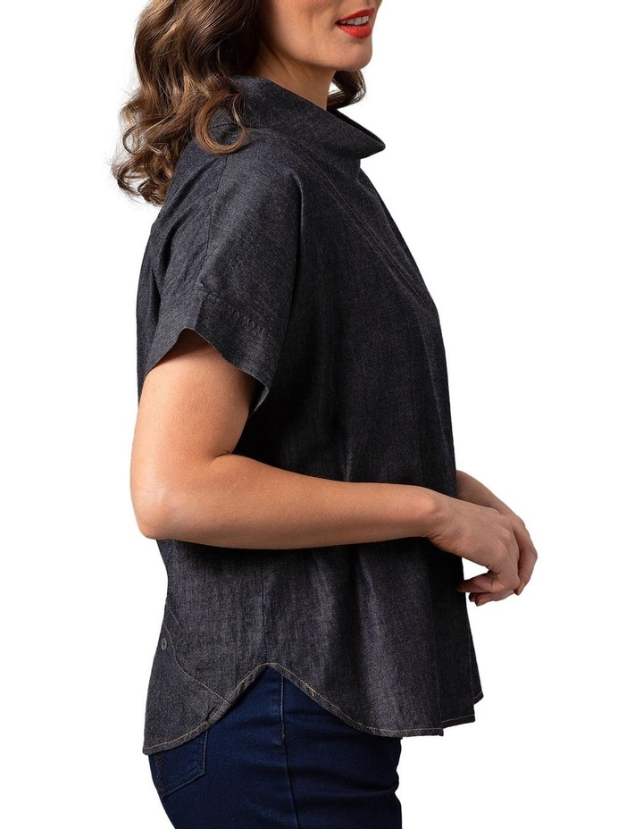 Wide Collar Chambray Top Grey image 3