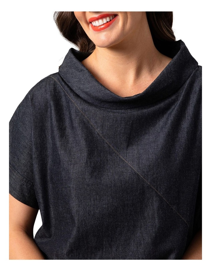Wide Collar Chambray Top Grey image 4