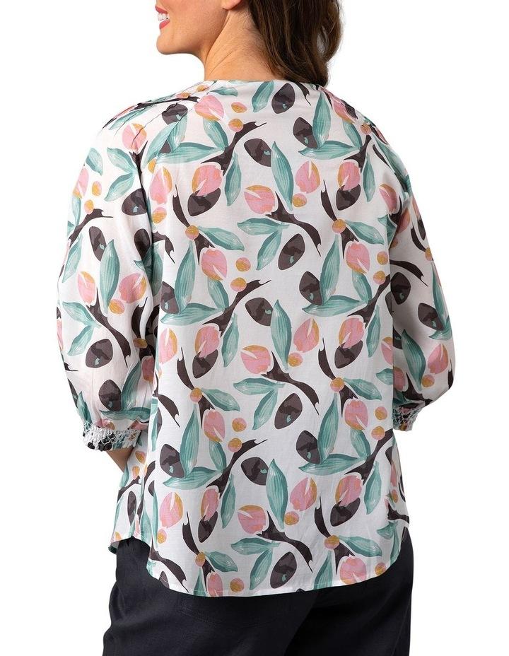 Bud Print Smocked Cuff Crew Neck Top Multicolour image 2