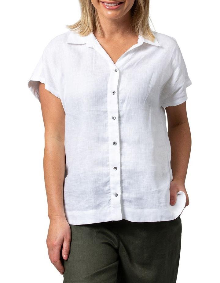 Boxy Essential Linen Shirt White image 1
