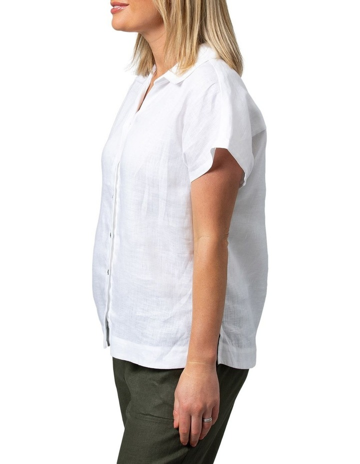 Boxy Essential Linen Shirt White image 3