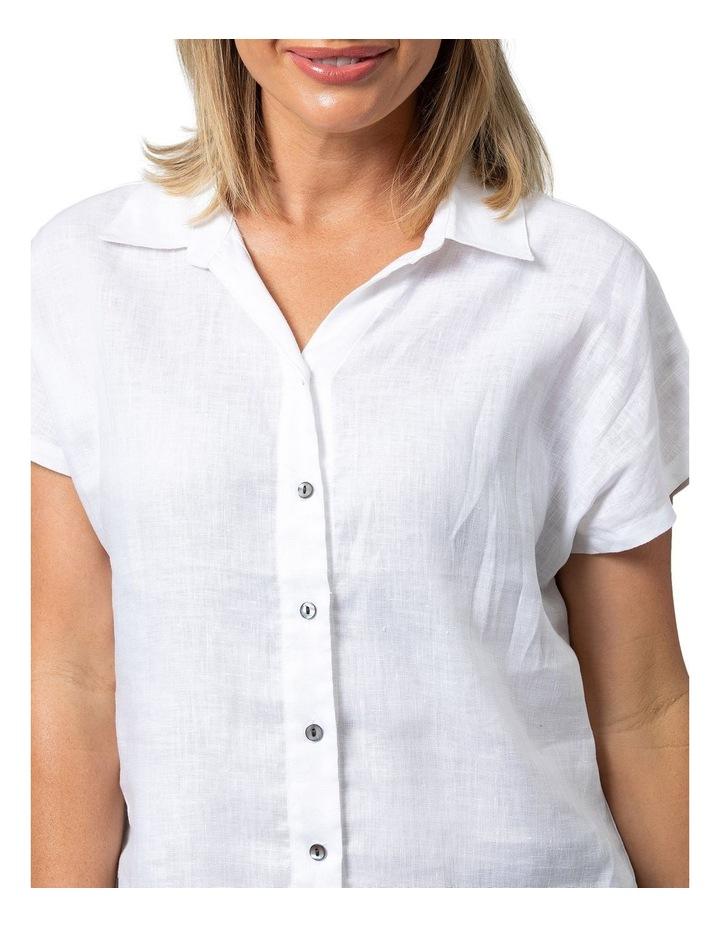 Boxy Essential Linen Shirt White image 4