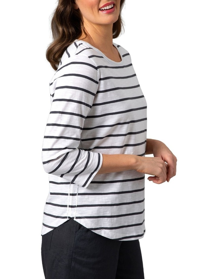 Embellished Stripe Tee White/Slate image 3