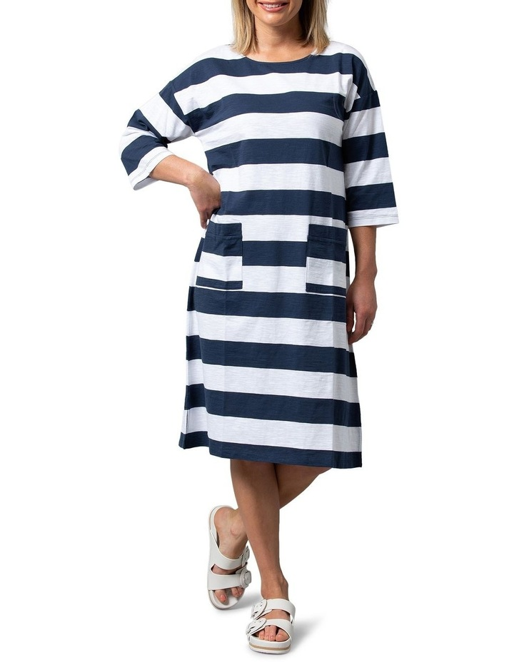 Relaxed Stripe Dress Navy image 1