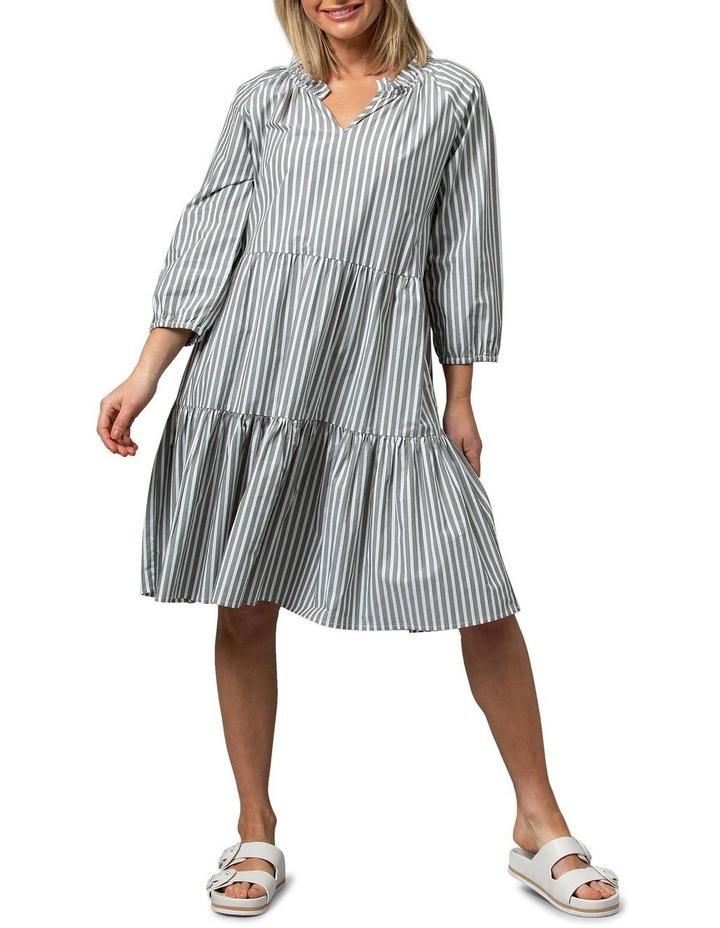 Hunter Green/White Midi Dress image 1