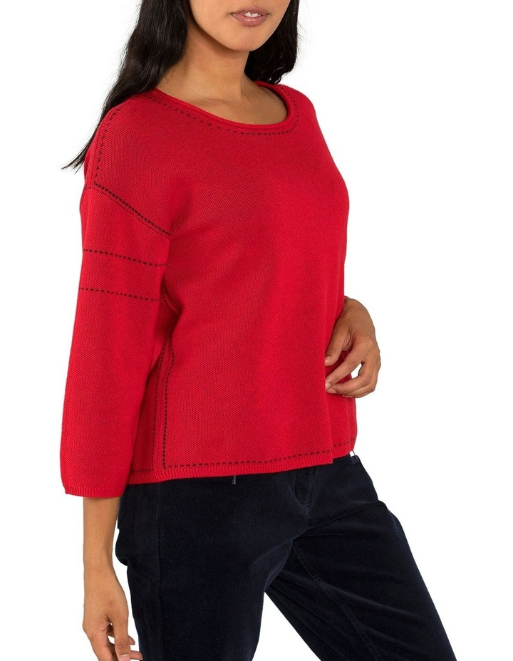 Contrast Stitch Jumper-Red image 2