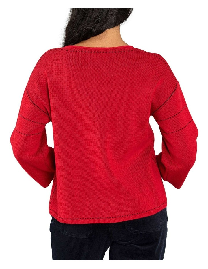 Contrast Stitch Jumper-Red image 3