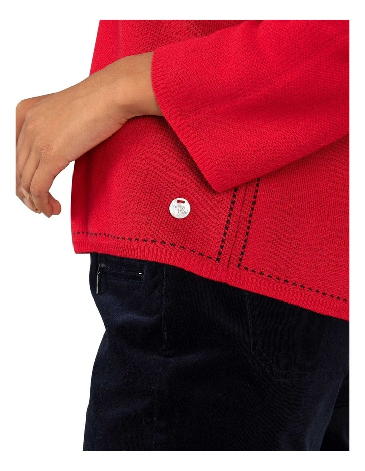 Contrast Stitch Jumper-Red image 4
