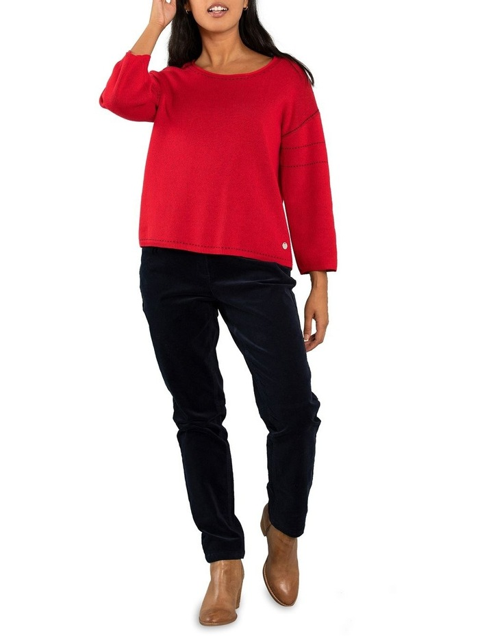 Contrast Stitch Jumper-Red image 5
