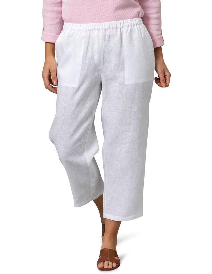 Washer Linen Crop Pant White image 1