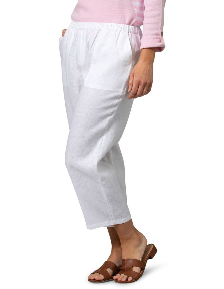 Washer Linen Crop Pant White image 3