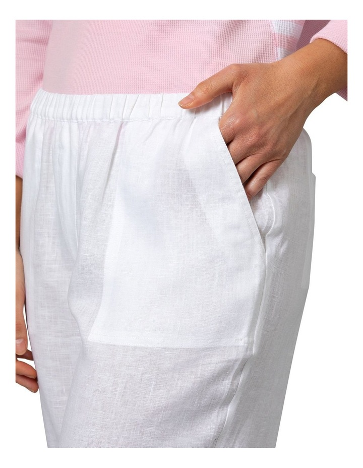 Washer Linen Crop Pant White image 4