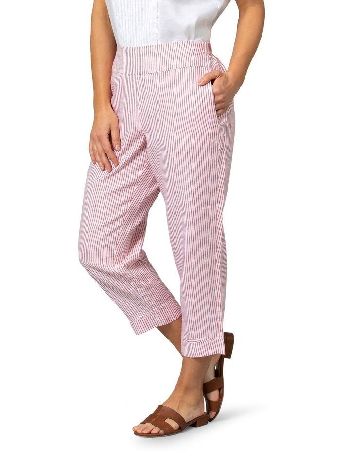 Stripe Linen Pant Red/White image 3