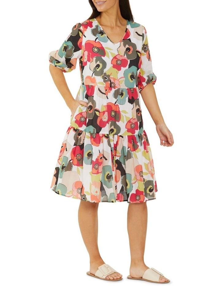 Paper Floral Print Midi Dress Multicolour image 3