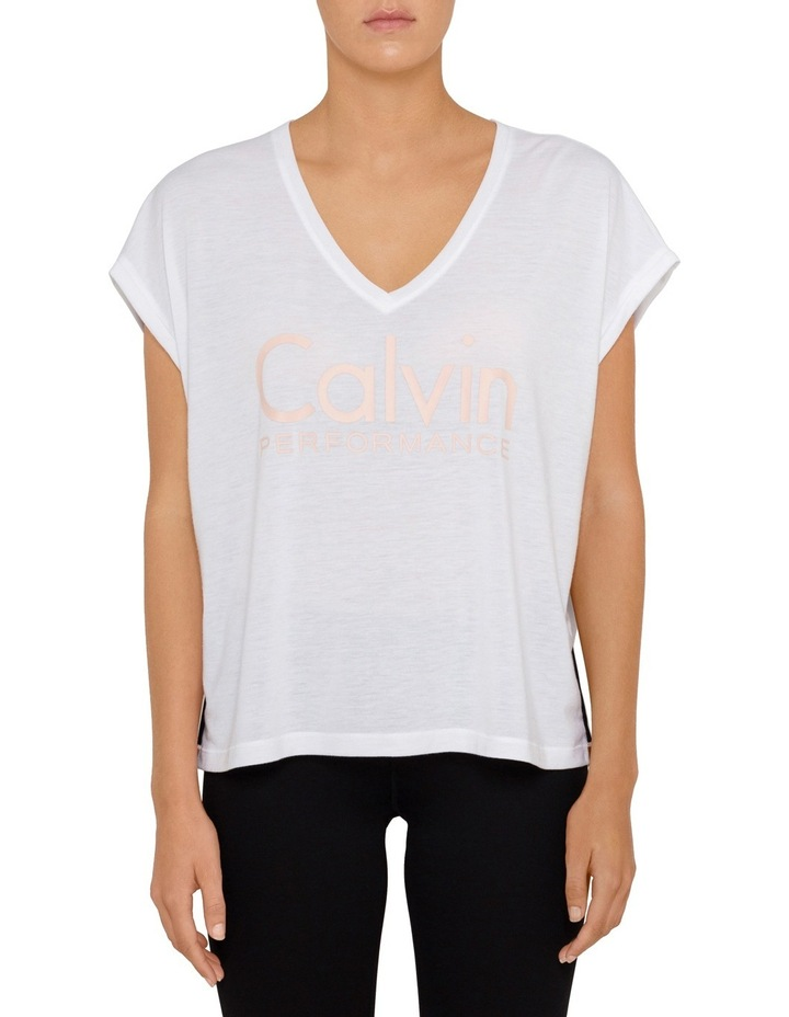 Boxy V Neck T-shirt with Rolled Cuffs image 1
