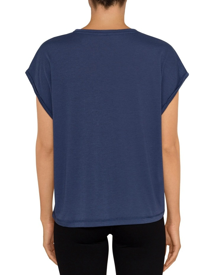 Boxy V Neck T-shirt with Rolled Cuffs image 2