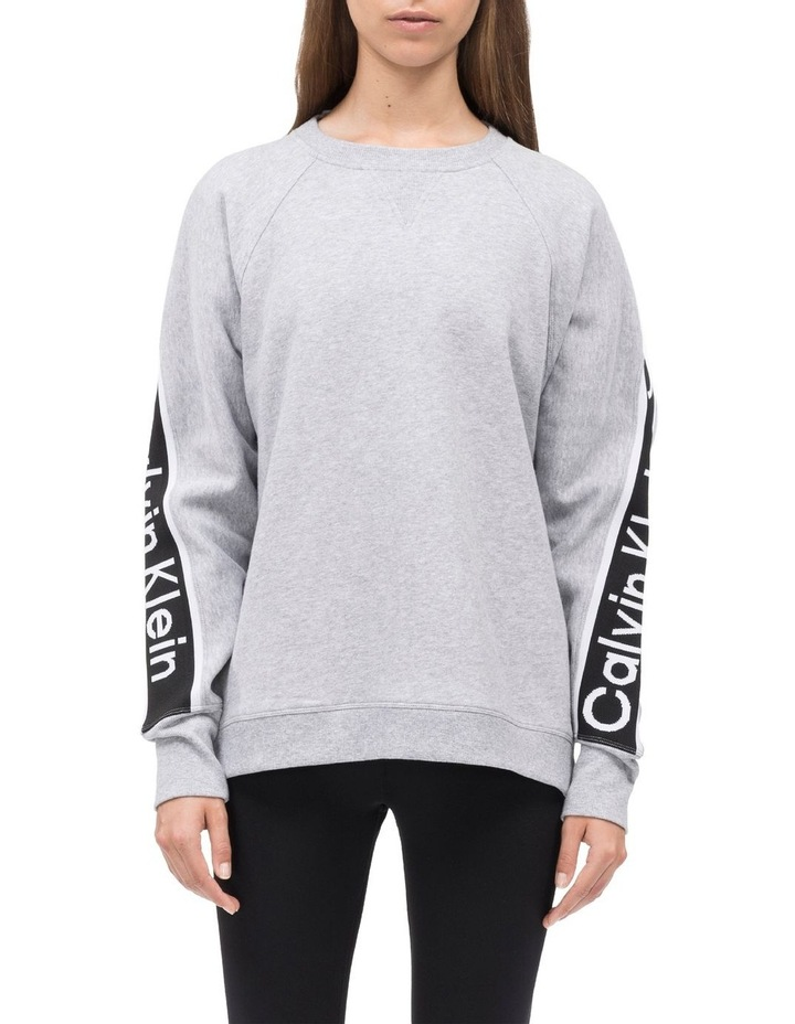 CROPPED LONG SLEEVE OVERSIZE PULLOVER W/ LOGO TAPE image 1
