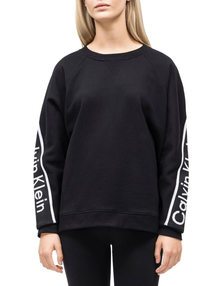 CROPPED LONG SLEEVE OVERSIZE PULLOVER W/ LOGO TAPE image 2