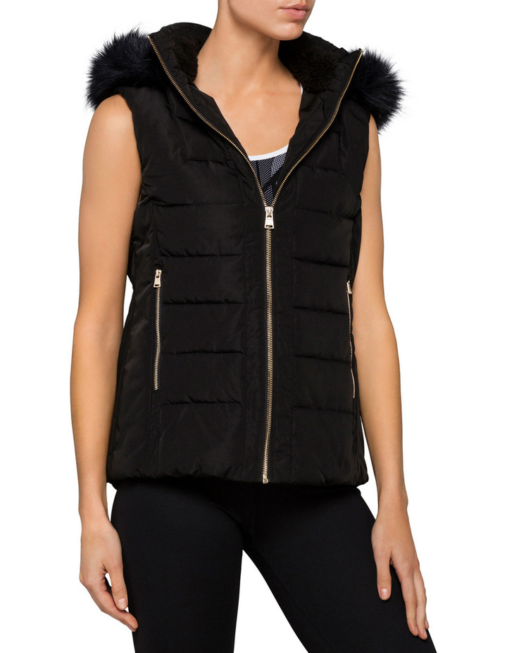 Womens Faux Fur Trim Hood Puffer Vest image 1