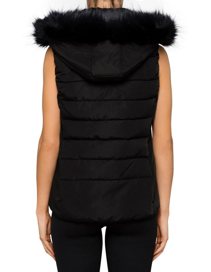 Womens Faux Fur Trim Hood Puffer Vest image 2