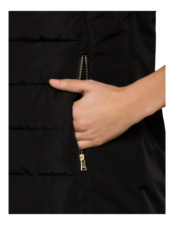 Womens Faux Fur Trim Hood Puffer Vest image 3