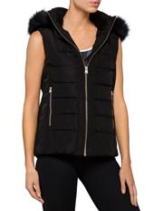 Calvin Klein Performance - Womens Faux Fur Trim Hood Puffer Vest
