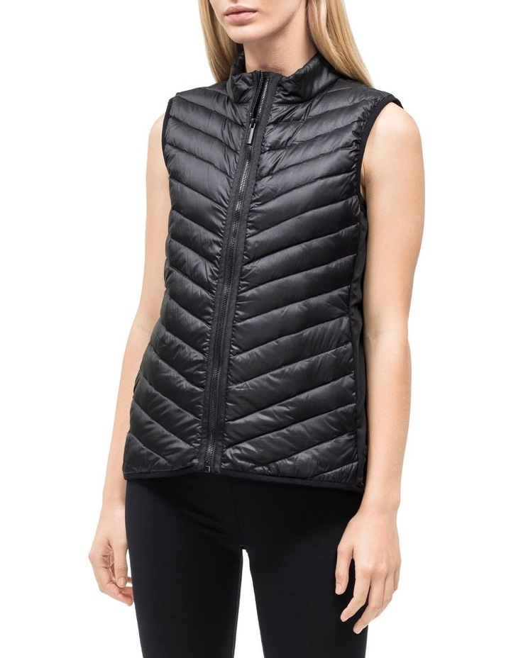 Down Fill Hi-Low Zip Vest With Knit Side Panels image 1