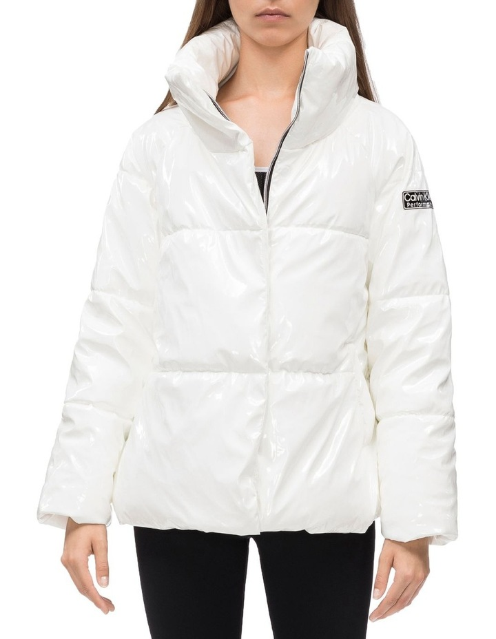 QUILTED POLYFILLED PUFFER JACKET W/OVERSIZED COLLAR image 1
