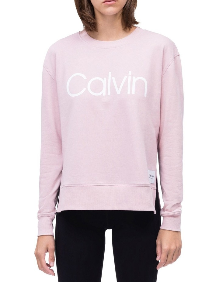 Calvin Logo Long Sleeve Side Slit Crew Neck Pullover With Ombre Tape image 1