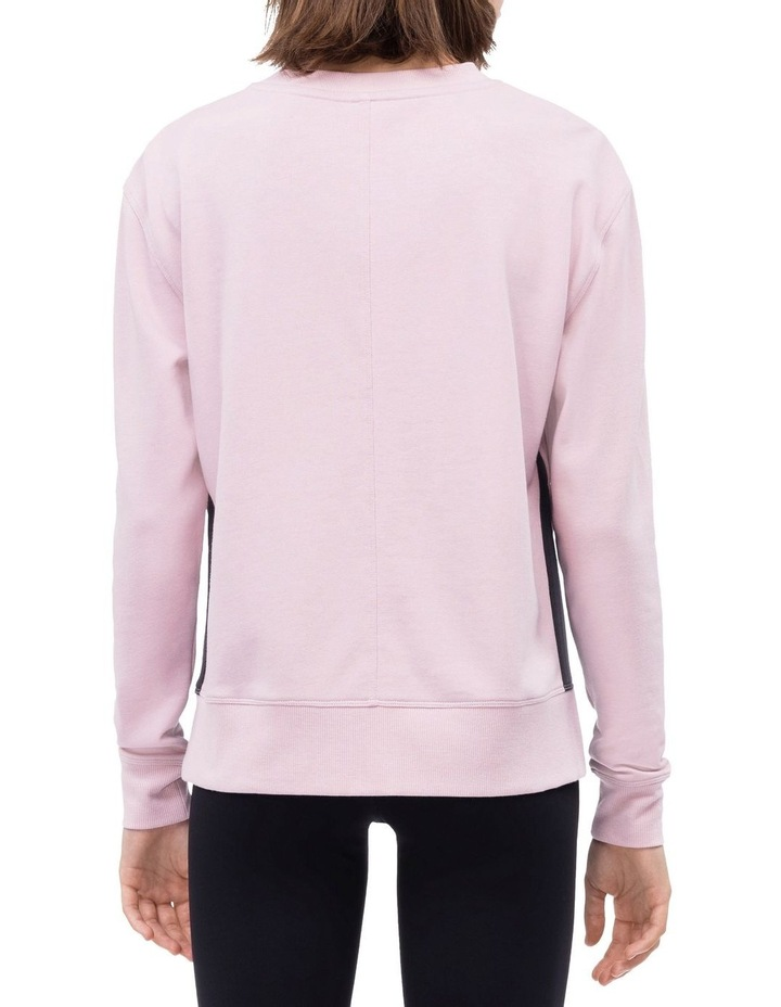 Calvin Logo Long Sleeve Side Slit Crew Neck Pullover With Ombre Tape image 2