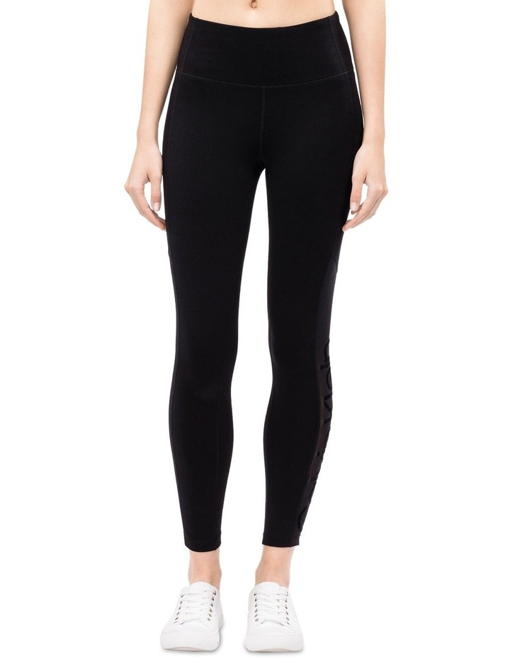 SIDE POWER MESH INSET WITH FLOCKED LOGO HIGH WAIST 7/8 LEGGING image 1