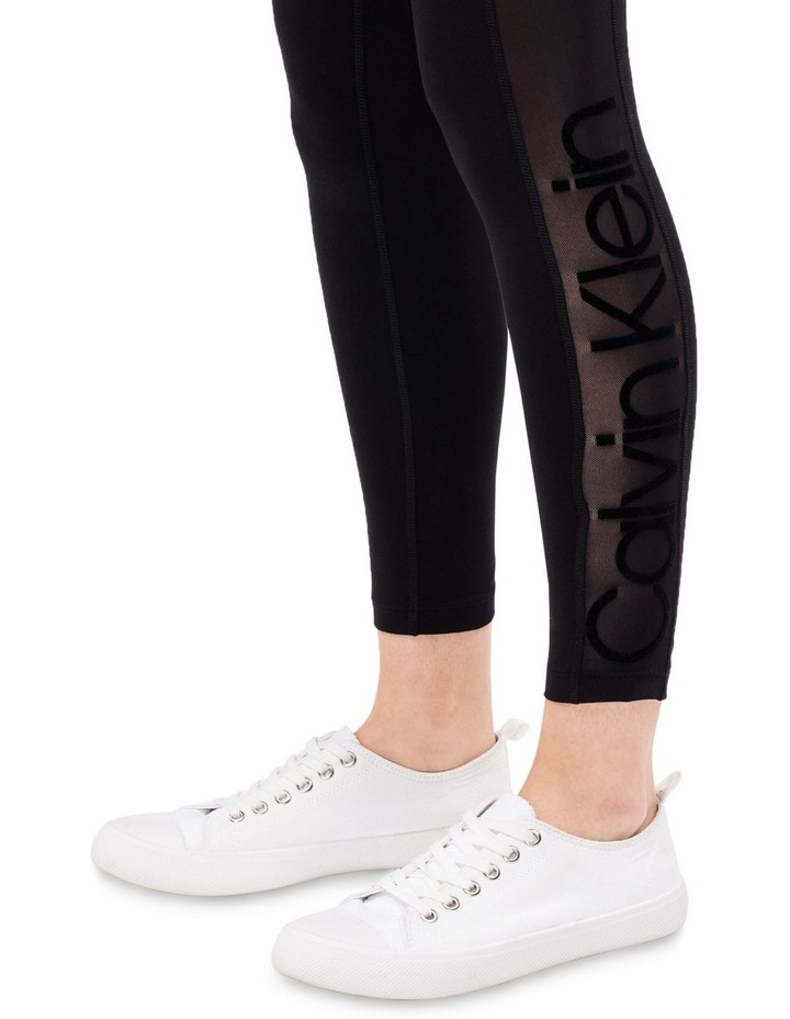 SIDE POWER MESH INSET WITH FLOCKED LOGO HIGH WAIST 7/8 LEGGING image 3